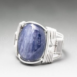 Blue Kyanite Sterling Silver Wire Wrapped Gemstone Cabochon Ring – Optional Oxidation/Antiquing – Made to Order, Ships Fast! | Natural genuine Gemstone rings, simple unique handcrafted gemstone rings. #rings #jewelry #shopping #gift #handmade #fashion #style #affiliate #ad