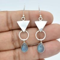 Natural Labradorite Earrings, Long Drop Earrings, 925 Silver Earrings, 7x10mm Pear Labradorite Earrings, Women Earrings, Blue Fire Earrings | Natural genuine Gemstone jewelry. Buy crystal jewelry, handmade handcrafted artisan jewelry for women.  Unique handmade gift ideas. #jewelry #beadedjewelry #beadedjewelry #gift #shopping #handmadejewelry #fashion #style #product #jewelry #affiliate #ad