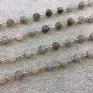Shop Labradorite Round Beads! Gold Plated Copper Wrapped Rosary Chain with 6mm Smooth Natural Iridescent Labradorite Round Shaped Beads – Sold by the foot! (CH308-GD) | Natural genuine round Labradorite beads for beading and jewelry making.  #jewelry #beads #beadedjewelry #diyjewelry #jewelrymaking #beadstore #beading #affiliate #ad