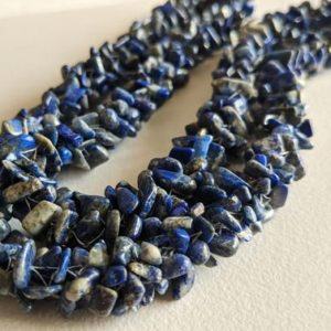 Shop Lapis Lazuli Chip & Nugget Beads! 4-7mm Lapis Lazuli Rough Chips, Lapis Lazuli Beaded Rope, Natural Lapis Lazuli Chips For Necklace 24 Inch (1Strand To 5Strand Option)-ANT167   Natural genuine chip Lapis Lazuli beads for beading and jewelry making.  #jewelry #beads #beadedjewelry #diyjewelry #jewelrymaking #beadstore #beading #affiliate #ad