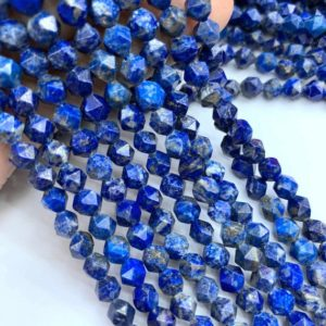 Shop Lapis Lazuli Chip & Nugget Beads! Natural Lapis Lazuli Star Cut Faceted Beads 6mm 8mm 10mm, Blue Rose Cut Geometric Cut Faceted Gemstone Nugget Mala Beads, Focal Gemstone | Natural genuine chip Lapis Lazuli beads for beading and jewelry making.  #jewelry #beads #beadedjewelry #diyjewelry #jewelrymaking #beadstore #beading #affiliate #ad