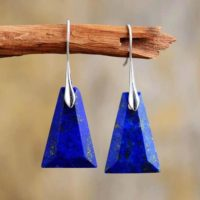 Natural Blue Lapis Lazuli Gemstone Dangle Healing Drop Earrings-inner Peace Meditation Grounding Balance Mental Health Gemstone Earring | Natural genuine Gemstone jewelry. Buy crystal jewelry, handmade handcrafted artisan jewelry for women.  Unique handmade gift ideas. #jewelry #beadedjewelry #beadedjewelry #gift #shopping #handmadejewelry #fashion #style #product #jewelry #affiliate #ad