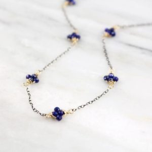 Shop Lapis Lazuli Necklaces! Lapis Satellite Mixed Metal Necklace | Natural genuine Lapis Lazuli necklaces. Buy crystal jewelry, handmade handcrafted artisan jewelry for women.  Unique handmade gift ideas. #jewelry #beadednecklaces #beadedjewelry #gift #shopping #handmadejewelry #fashion #style #product #necklaces #affiliate #ad