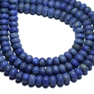 Shop Lapis Lazuli Rondelle Beads! 10pc – stone beads – Lapis Lazuli matte frosted Rondelle 6x4mm – 8741140007833 | Natural genuine rondelle Lapis Lazuli beads for beading and jewelry making.  #jewelry #beads #beadedjewelry #diyjewelry #jewelrymaking #beadstore #beading #affiliate #ad