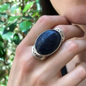 Shop Sodalite Rings! Large Sodalite Ring, Blue Sodalite Ring, Natural Sodalite, Oval Vintage Rings, Large Stone Ring, Deep Blue Ring, Solid Silver Ring, Sodalite   Natural genuine Sodalite rings, simple unique handcrafted gemstone rings. #rings #jewelry #shopping #gift #handmade #fashion #style #affiliate #ad