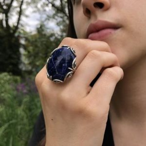 Shop Sodalite Rings! Large Sodalite Ring, Blue Sodalite Ring, Natural Sodalite, Vintage Rings, Large Stone Ring, Deep Blue Ring, Solid Silver Ring, Sodalite   Natural genuine Sodalite rings, simple unique handcrafted gemstone rings. #rings #jewelry #shopping #gift #handmade #fashion #style #affiliate #ad