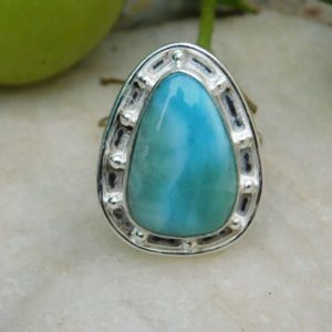 Shop Larimar Cabochons! Blue Larimar gemstone Ring* Sterling Silver ring*Women Ring*larimar cabochon Ring*Larimar jewelry*natural larimar Ring*men's ring*gifts*A312   Natural genuine stones & crystals in various shapes & sizes. Buy raw cut, tumbled, or polished gemstones for making jewelry or crystal healing energy vibration raising reiki stones. #crystals #gemstones #crystalhealing #crystalsandgemstones #energyhealing #affiliate #ad
