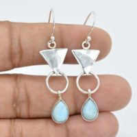 Larimar Earrings | 925 Sterling Solid Silver Earring | 7×10 Mm Pear Larimar Earrings | Gemstone Earrings | Boho Earrings | Women Earrings | Natural genuine Gemstone jewelry. Buy crystal jewelry, handmade handcrafted artisan jewelry for women.  Unique handmade gift ideas. #jewelry #beadedjewelry #beadedjewelry #gift #shopping #handmadejewelry #fashion #style #product #jewelry #affiliate #ad