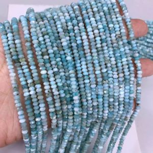 Shop Larimar Faceted Beads! Tiny Larimar Rondelle Micro Faceted Beads 3x2mm 4x3mm Small Natural Blue Semi Precious Gemstone Beads Delicate Genuine Larimar Spacer Beads | Natural genuine faceted Larimar beads for beading and jewelry making.  #jewelry #beads #beadedjewelry #diyjewelry #jewelrymaking #beadstore #beading #affiliate #ad