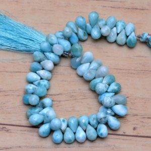 Shop Larimar Bead Shapes! AAA+ Larimar Teardrop Beads, Gemstone 6x9mm Drops Briolette | 8inch Strand | Natural Dominican Larimar Semi Precious Gemstone Loose Beads | Natural genuine other-shape Larimar beads for beading and jewelry making.  #jewelry #beads #beadedjewelry #diyjewelry #jewelrymaking #beadstore #beading #affiliate #ad