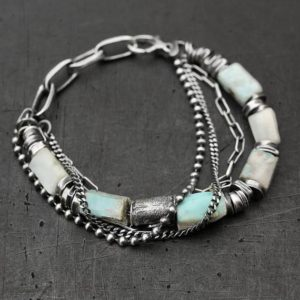 Shop Larimar Bracelets! Larimar raw sterling silver bracelet – boho handmade oxidized silver bracelet | Natural genuine Larimar bracelets. Buy crystal jewelry, handmade handcrafted artisan jewelry for women.  Unique handmade gift ideas. #jewelry #beadedbracelets #beadedjewelry #gift #shopping #handmadejewelry #fashion #style #product #bracelets #affiliate #ad
