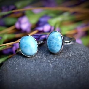 Shop Larimar Rings! Dominican Republic Larimar Oval 925 Sterling Silver Adjustable Ring | Natural genuine Larimar rings, simple unique handcrafted gemstone rings. #rings #jewelry #shopping #gift #handmade #fashion #style #affiliate #ad