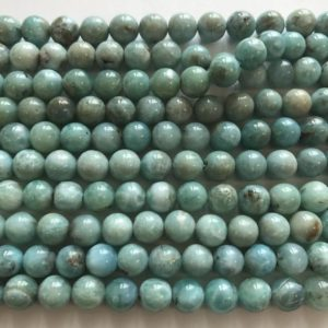 "Shop Larimar Round Beads! 100% Natural Dominican larimar 8mm Round Gemstone Beads–15.5""–1 strand/3 strands 