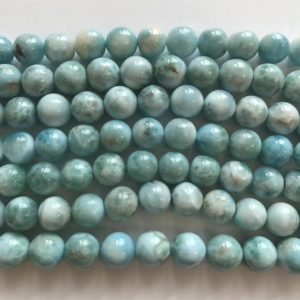 "Shop Larimar Round Beads! 100% Natural Dominican larimar 10mm Round Gemstone Beads–15.5""–1 strand/3 strands 
