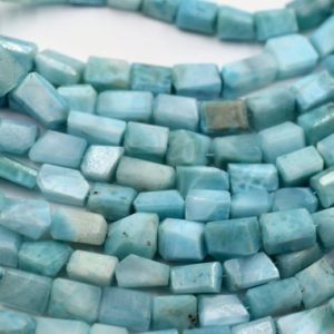 "Shop Larimar Bead Shapes! Larimar Tumble Faceted Beads Nugget Shape Size 6X8 To 7X9 MM 16""Inches Natural Larimar Gemstone Wholesale Price 