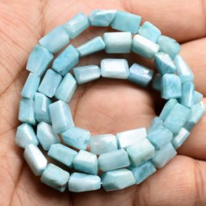 """Shop Larimar Bead Shapes! Larimar Tumble Shape Faceted Nugget Beads 6×9 To 7×10.MM Approx 16"""" Inches Natural Top Quality Wholesaler Price. 