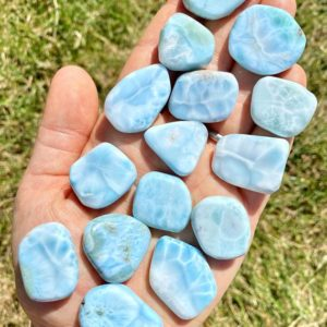 "Larimar Slab (0.75"" – 1.25"" ) Grade AAA – larimar stone slab – Dominican Republic – larimar crystal – Larimar tumbled slice 