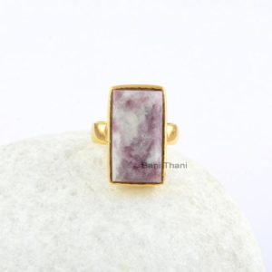 Lepidolite 11x20mm Rectangle Gemstone Ring, Sterling Silver Gold Plated Bezel Ring, Engagement Ring, Handmade Ring, Cocktail Ring, Boho Ring | Natural genuine Gemstone rings, simple unique alternative gemstone engagement rings. #rings #jewelry #bridal #wedding #jewelryaccessories #engagementrings #weddingideas #affiliate #ad