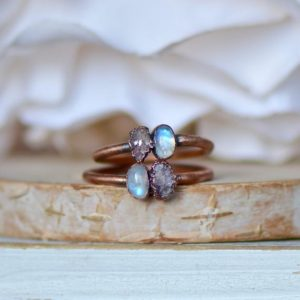 Shop Lepidolite Rings! Lepidolite Moonstone Ring, Raw Stone Ring, Multi Stone Ring, Electroformed Ring, Gift for Her, Hippie Ring, Stacking Ring, Birthstone Ring | Natural genuine Lepidolite rings, simple unique handcrafted gemstone rings. #rings #jewelry #shopping #gift #handmade #fashion #style #affiliate #ad