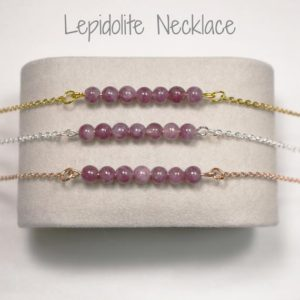 Calming Lepidolite Necklace, Emotional Balance Lepidolite Beaded Necklace, Empath Protection Lepidolite Necklace for Women | Natural genuine Lepidolite necklaces. Buy crystal jewelry, handmade handcrafted artisan jewelry for women.  Unique handmade gift ideas. #jewelry #beadednecklaces #beadedjewelry #gift #shopping #handmadejewelry #fashion #style #product #necklaces #affiliate #ad