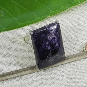 Shop Lepidolite Rings! Lepidolite Ring, Designer Ring, Handmade Ring, Cabochon Ring, Rectangle Ring,Prong, Gift for Her, Lepidolite Jewelry, 925 Sterling Silver | Natural genuine Lepidolite rings, simple unique handcrafted gemstone rings. #rings #jewelry #shopping #gift #handmade #fashion #style #affiliate #ad