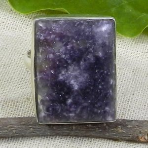 Shop Lepidolite Rings! Lepidolite Ring, Solid 925 Sterling Silver Ring, Purple Ring, Simple Ring, Bezel Set, Rectangle Gemstone, Unisex Ring, Gemstone Ring, Gift | Natural genuine Lepidolite rings, simple unique handcrafted gemstone rings. #rings #jewelry #shopping #gift #handmade #fashion #style #affiliate #ad