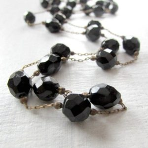 Long Antique Victorian Whitby Jet Necklace- Carved Black Faceted Beads- Brass Chain- 1800s Mourning Jewelry- Christmas Gift for Wife | Natural genuine Jet necklaces. Buy crystal jewelry, handmade handcrafted artisan jewelry for women.  Unique handmade gift ideas. #jewelry #beadednecklaces #beadedjewelry #gift #shopping #handmadejewelry #fashion #style #product #necklaces #affiliate #ad