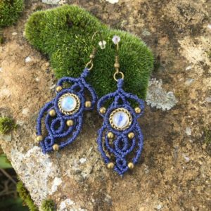 Shop Macrame Jewelry! Macrame earrings moonstone with a bronze setting – color blue | Natural genuine Gemstone jewelry. Buy crystal jewelry, handmade handcrafted artisan jewelry for women.  Unique handmade gift ideas. #jewelry #beadedjewelry #beadedjewelry #gift #shopping #handmadejewelry #fashion #style #product #jewelry #affiliate #ad
