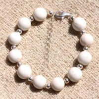 Bracelet 925 Sterling Silver And Stone – Magnesite 10mm | Natural genuine Gemstone jewelry. Buy crystal jewelry, handmade handcrafted artisan jewelry for women.  Unique handmade gift ideas. #jewelry #beadedjewelry #beadedjewelry #gift #shopping #handmadejewelry #fashion #style #product #jewelry #affiliate #ad