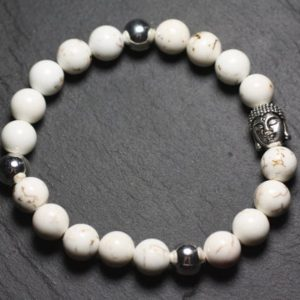 Gemstone – 8 Mm Magnesite And Buddha Bracelet | Natural genuine Gemstone bracelets. Buy crystal jewelry, handmade handcrafted artisan jewelry for women.  Unique handmade gift ideas. #jewelry #beadedbracelets #beadedjewelry #gift #shopping #handmadejewelry #fashion #style #product #bracelets #affiliate #ad