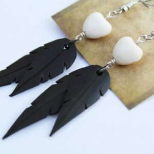 Shop Heart Shaped Earrings! Magnesite Hearts | Recycled Bike Tire Tubes | Faux Feather Earrings | Natural genuine Gemstone earrings. Buy crystal jewelry, handmade handcrafted artisan jewelry for women.  Unique handmade gift ideas. #jewelry #beadedearrings #beadedjewelry #gift #shopping #handmadejewelry #fashion #style #product #earrings #affiliate #ad