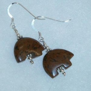 Shop Mahogany Obsidian Earrings! Mahogany Obsidian Bear Fetish Dangle Earrings | Natural genuine Mahogany Obsidian earrings. Buy crystal jewelry, handmade handcrafted artisan jewelry for women.  Unique handmade gift ideas. #jewelry #beadedearrings #beadedjewelry #gift #shopping #handmadejewelry #fashion #style #product #earrings #affiliate #ad