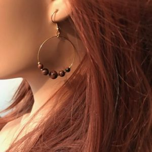 Shop Mahogany Obsidian Earrings! Mahogany Obsidian Earrings: Single Gold Hoop | Natural genuine Mahogany Obsidian earrings. Buy crystal jewelry, handmade handcrafted artisan jewelry for women.  Unique handmade gift ideas. #jewelry #beadedearrings #beadedjewelry #gift #shopping #handmadejewelry #fashion #style #product #earrings #affiliate #ad