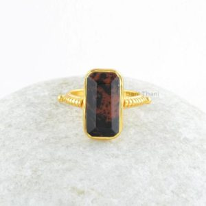Shop Mahogany Obsidian Jewelry! Mahogany Obsidian Ring-Mahogany Obsidian 8x16mm Octagon Sterling Silver with 18k Gold Plated Ring-Handmade Ring-Gift For Women | Natural genuine Mahogany Obsidian jewelry. Buy crystal jewelry, handmade handcrafted artisan jewelry for women.  Unique handmade gift ideas. #jewelry #beadedjewelry #beadedjewelry #gift #shopping #handmadejewelry #fashion #style #product #jewelry #affiliate #ad