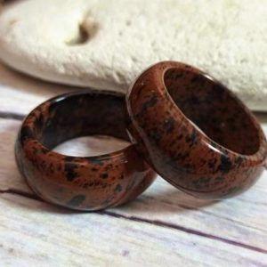 Shop Mahogany Obsidian Rings! Obsidian ring for men | Mahogany Obsidian men's ring | Big wide stone band | Natural stone ring | Chunky stone band | Natural genuine Mahogany Obsidian mens fashion rings, simple unique handcrafted gemstone men's rings, gifts for men. Anillos hombre. #rings #jewelry #crystaljewelry #gemstonejewelry #handmadejewelry #affiliate #ad