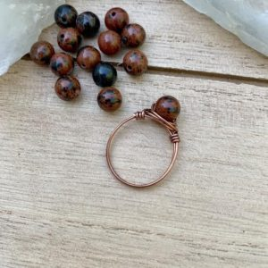 Shop Mahogany Obsidian Jewelry! Mahogany Obsidian Ring, Obsidian Gemstone Bead Ring, Crystal Rings, Wire Wrapped Ring, Jasper Wire Wrap, Mens Wire Wrapped Ring | Natural genuine Mahogany Obsidian jewelry. Buy handcrafted artisan men's jewelry, gifts for men.  Unique handmade mens fashion accessories. #jewelry #beadedjewelry #beadedjewelry #shopping #gift #handmadejewelry #jewelry #affiliate #ad