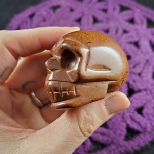 """Shop Mahogany Obsidian Shapes! SALE Mahogany Obsidian Skull Polished Crystal Stones Carved Red Black Crystals 2"""" hand carving 2 inch skulls memento mori   Natural genuine stones & crystals in various shapes & sizes. Buy raw cut, tumbled, or polished gemstones for making jewelry or crystal healing energy vibration raising reiki stones. #crystals #gemstones #crystalhealing #crystalsandgemstones #energyhealing #affiliate #ad"""