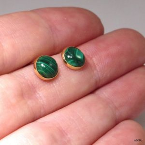 Malachite Earrings, 14K Gold Earrings, Gemstone Earrings, Stud Earrings, Bohemian Earrings, Green Jewelry, Dainty Earrings, Tiny Earrings | Natural genuine Malachite earrings. Buy crystal jewelry, handmade handcrafted artisan jewelry for women.  Unique handmade gift ideas. #jewelry #beadedearrings #beadedjewelry #gift #shopping #handmadejewelry #fashion #style #product #earrings #affiliate #ad