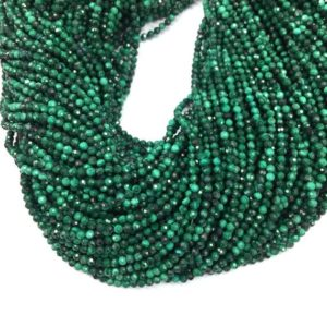Shop Malachite Beads! Tiny Malachite Micro Faceted Beads 2 3 4mm Natural Malachite Green Gemstone Genuine Small Malachite Semi Precious Spacer Beads | Natural genuine beads Malachite beads for beading and jewelry making.  #jewelry #beads #beadedjewelry #diyjewelry #jewelrymaking #beadstore #beading #affiliate #ad