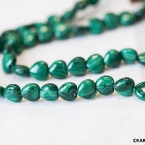 """M/ Malachite 8mm Puffy Heart beads 16"""" strand Natural green banded gemstone beads for jewelry making 