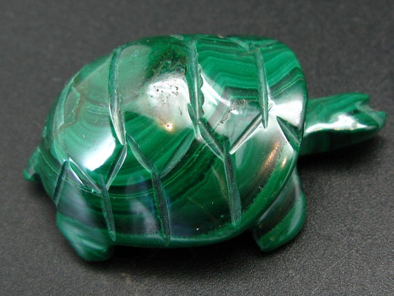 Rich Vivid Vibrant Green Malachite Turtle Carving From Congo - 2.3""