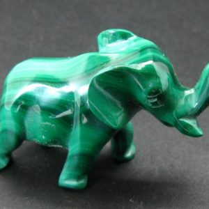"""Shop Malachite Shapes! Rich Vivid Vibrant Green Malachite Elephant Carving  From Congo – 2.3"""" 