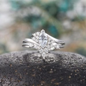 Marquise white sapphire engagement ring set vintage white gold cluster Antique moissanite  unique Wedding  set Anniversary wedding ring | Natural genuine Array rings, simple unique alternative gemstone engagement rings. #rings #jewelry #bridal #wedding #jewelryaccessories #engagementrings #weddingideas #affiliate #ad