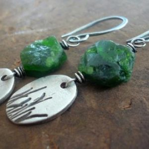 Shop Diopside Earrings! Meadow Dangle Earrings – Handmade. Chrome Diopside. Oxidized Sterling & fine silver Earrings | Natural genuine Diopside earrings. Buy crystal jewelry, handmade handcrafted artisan jewelry for women.  Unique handmade gift ideas. #jewelry #beadedearrings #beadedjewelry #gift #shopping #handmadejewelry #fashion #style #product #earrings #affiliate #ad