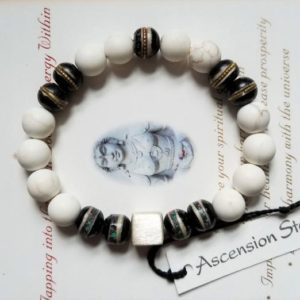 Shop Magnesite Bracelets! Men's Magnesite White Turquoise Vintage Tibetan Inlaid Stones – Sterling ~ Genuine Untreated ~  Therapeutic Quality Gemstone Bracelet 10mm | Natural genuine Magnesite bracelets. Buy crystal jewelry, handmade handcrafted artisan jewelry for women.  Unique handmade gift ideas. #jewelry #beadedbracelets #beadedjewelry #gift #shopping #handmadejewelry #fashion #style #product #bracelets #affiliate #ad