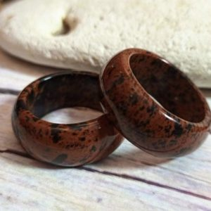 Shop Mahogany Obsidian Rings! Obsidian ring for men, Men's big chunky Mahogany Obsidian stone ring band | Natural genuine Mahogany Obsidian mens fashion rings, simple unique handcrafted gemstone men's rings, gifts for men. Anillos hombre. #rings #jewelry #crystaljewelry #gemstonejewelry #handmadejewelry #affiliate #ad