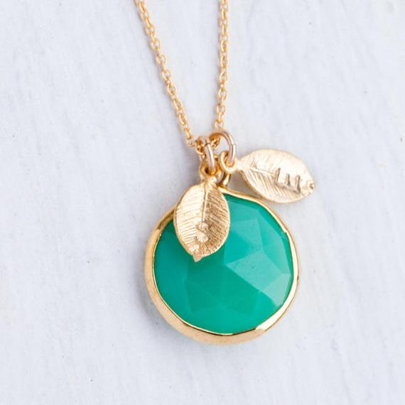Mint Chrysoprase Necklace, Personalized Name Necklace, Chrysoprase Pendant, Custom Initials Necklace, Statement Necklace, Nk-rd