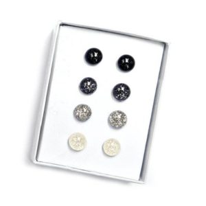 Monochrome Glitter Stud Earring Set, Tiny Stud Earrings, Hypoallergenic Posts, Pure Titanium Earrings, Gift idea, Canadian, Free Shipping | Natural genuine Gemstone earrings. Buy crystal jewelry, handmade handcrafted artisan jewelry for women.  Unique handmade gift ideas. #jewelry #beadedearrings #beadedjewelry #gift #shopping #handmadejewelry #fashion #style #product #earrings #affiliate #ad