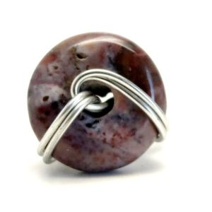 Shop Mookaite Jasper Rings! Jasper Purple Ring 4.5 Specialty One-of-Kind Donut Mookaite Silver Wire Wrapped Circle Stone S02 | Natural genuine Mookaite Jasper rings, simple unique handcrafted gemstone rings. #rings #jewelry #shopping #gift #handmade #fashion #style #affiliate #ad