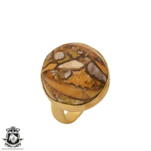 Shop Mookaite Jasper Rings! Size 7.5 – Size 9 Adjustable Brecciated Mookaite 24K Gold Plated Ring GPR700 | Natural genuine Mookaite Jasper rings, simple unique handcrafted gemstone rings. #rings #jewelry #shopping #gift #handmade #fashion #style #affiliate #ad